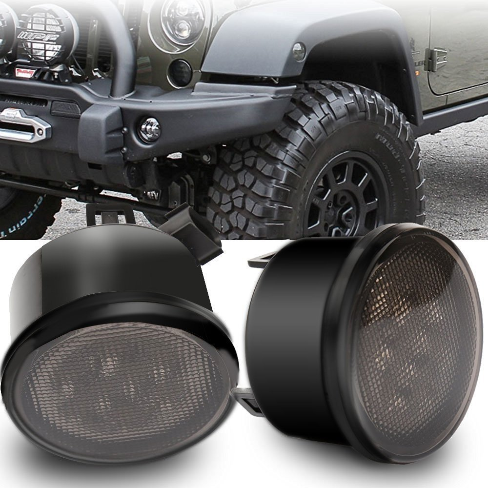 2PCS ABS Plastic Amber Front Turn Signal light Smoked Lens Fender Parking led lights for 2007-2015 Jeep Wrangler JK 2x smoke lens amber led front turn signal light 2x amber fender side marker parking lamp combo for 2007 2015 jeep wrangler jk