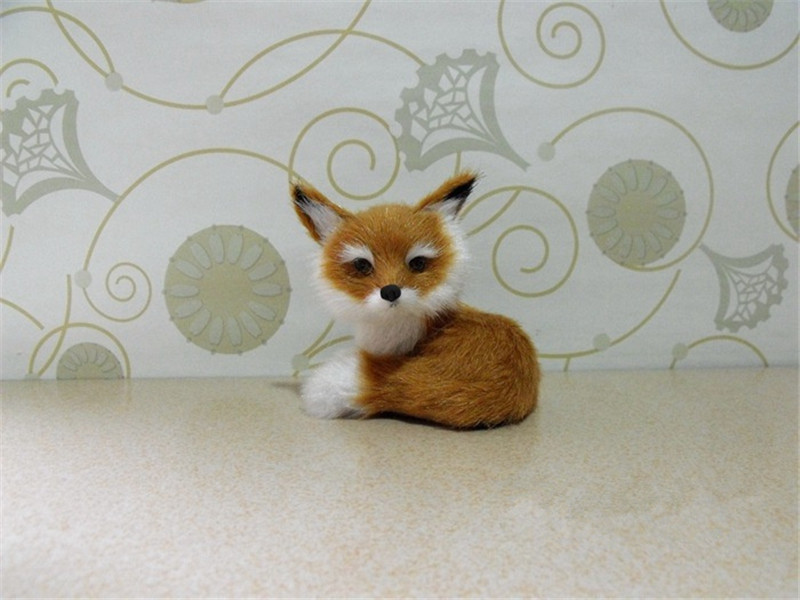Simulation Animal Brown And White Fox Toy Polyethylene & Furs Handicraft House Decoration Prop Owl Emulation Doll Gift