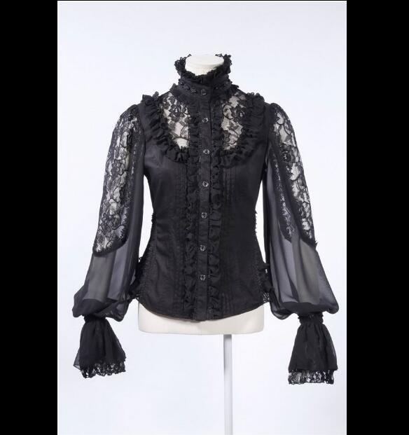 Historical Victorian Noble's Blouse Baroque Lace Lantern Sleeves Women's Gothic Blouse BLACK 21152B