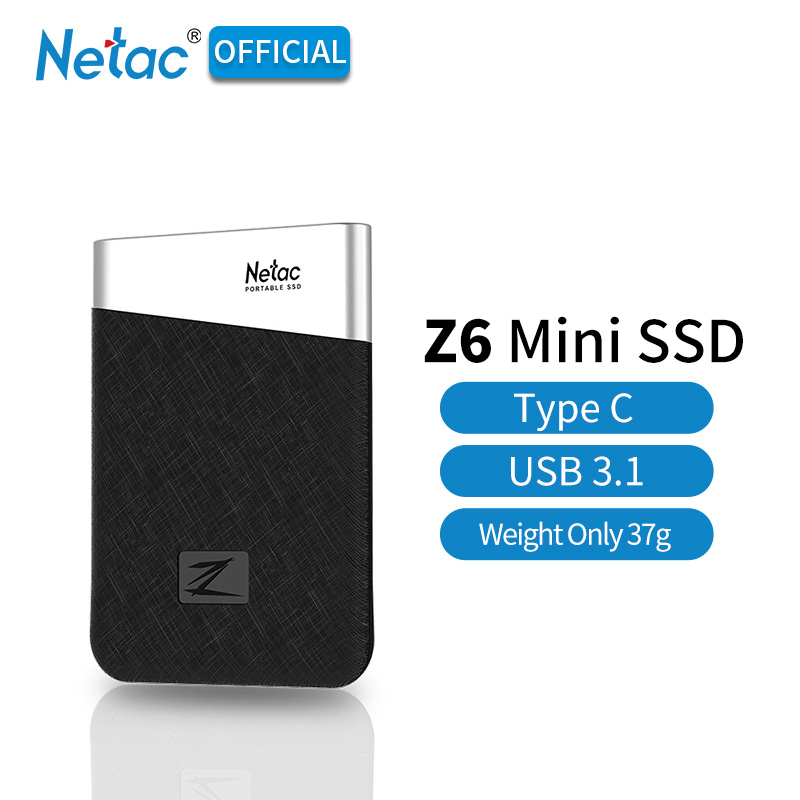 Netac Z6 Type C USB 3.1 Portable SSD Max Write Speed Up To 400MB/s Mini Size Light 240GB 480GB 960GB External Solid State Drive-in External Solid State Drives from Computer & Office    1