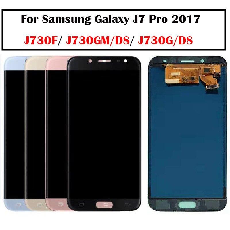 Super AMOLED Pour Samsung Galaxy J7 Pro 2017 J730 écran LCD + ensemble numériseur à écran tactile remplacement pour Samsung J730 LCD