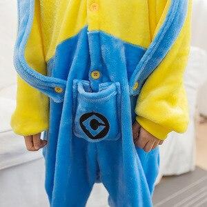 Image 4 - 少年少女の子供手下黄色パジャマセットフランネル漫画付きスパースター infantil 着ぐるみパジャマ