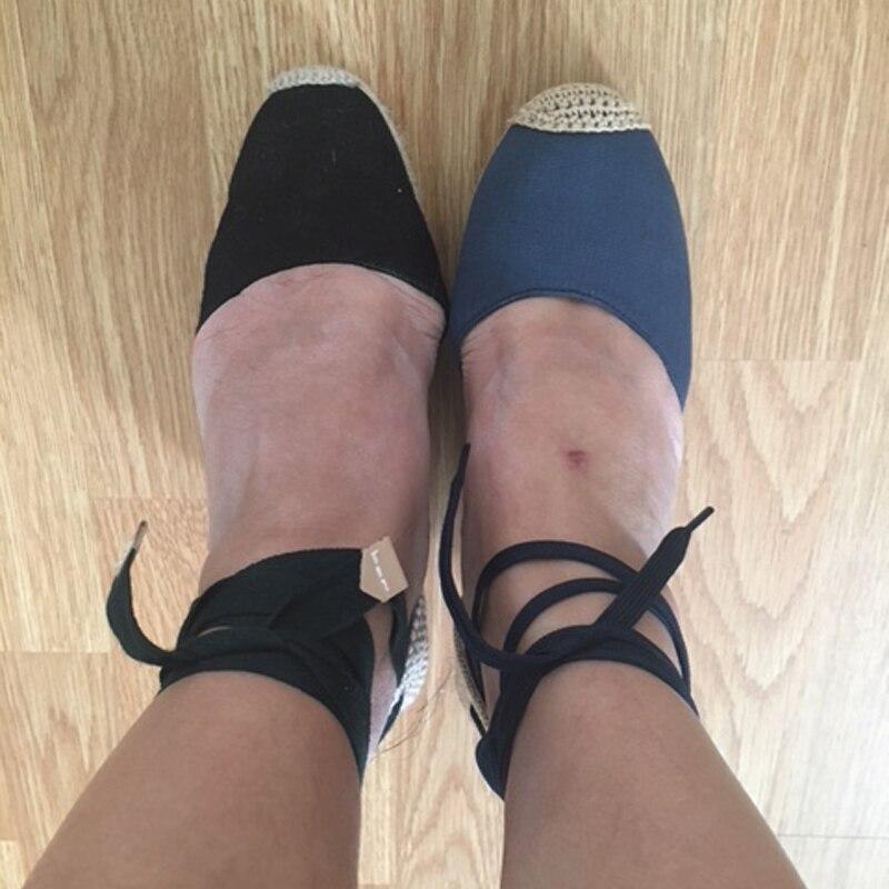 Women Ankle Strap Espadrilles Wedge Sandals 2018 Summer Canvas High Heel Fashion Lace up Women Platform Wedge Sandals Large Size (35)