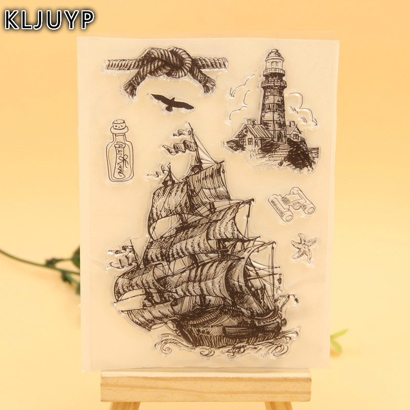 KLJUYP Pirate Ship Transparent Clear Silicone Stamp/Seal for DIY scrapbooking/photo album Decorative clear stamp lovely animals and ballon design transparent clear silicone stamp for diy scrapbooking photo album clear stamp cl 278