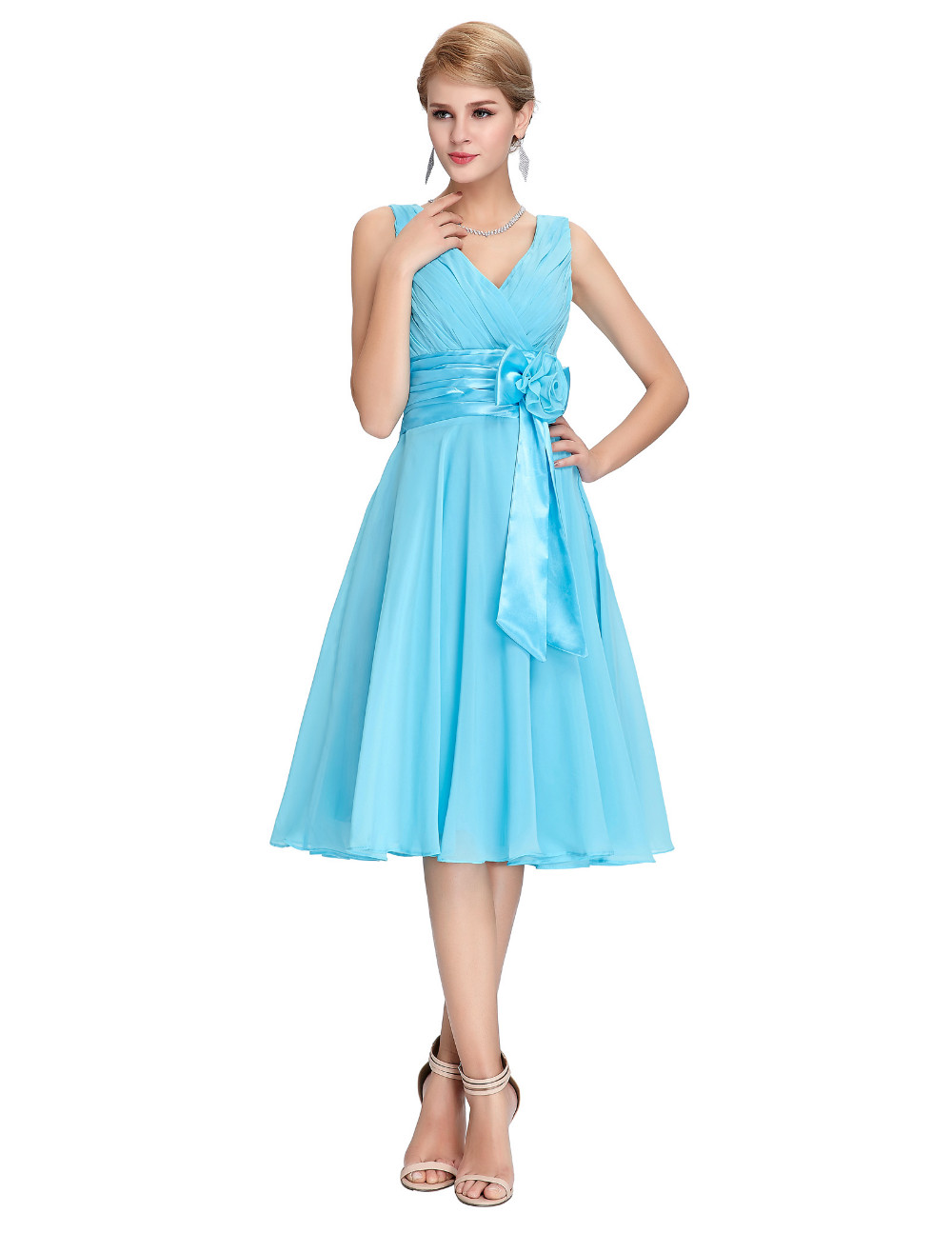 HTB1SWb.MVXXXXawXXXXq6xXFXXXiKnee Length Short Chiffon Blue Dress