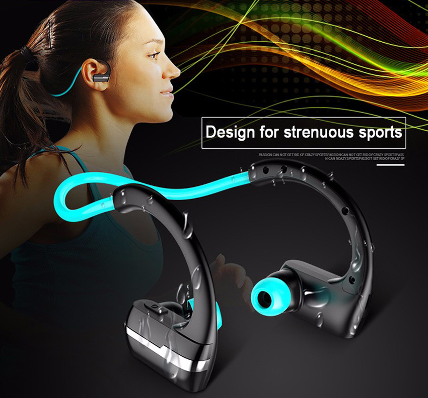 New Design Bluetooth Earphone Handsfree Wireless Sweatproof Sport Headphone with Mic for iPhone Xiaomi Samsung Mobile Phone high quality 2016 universal wireless bluetooth headset handsfree earphone for iphone samsung jun22