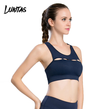 LUKITAS Women Navy Sexy Mesh Straps Hollow Push Up Quick Dry Elastic Yoga Running Exercise Polyester Removable pad Sports Bra