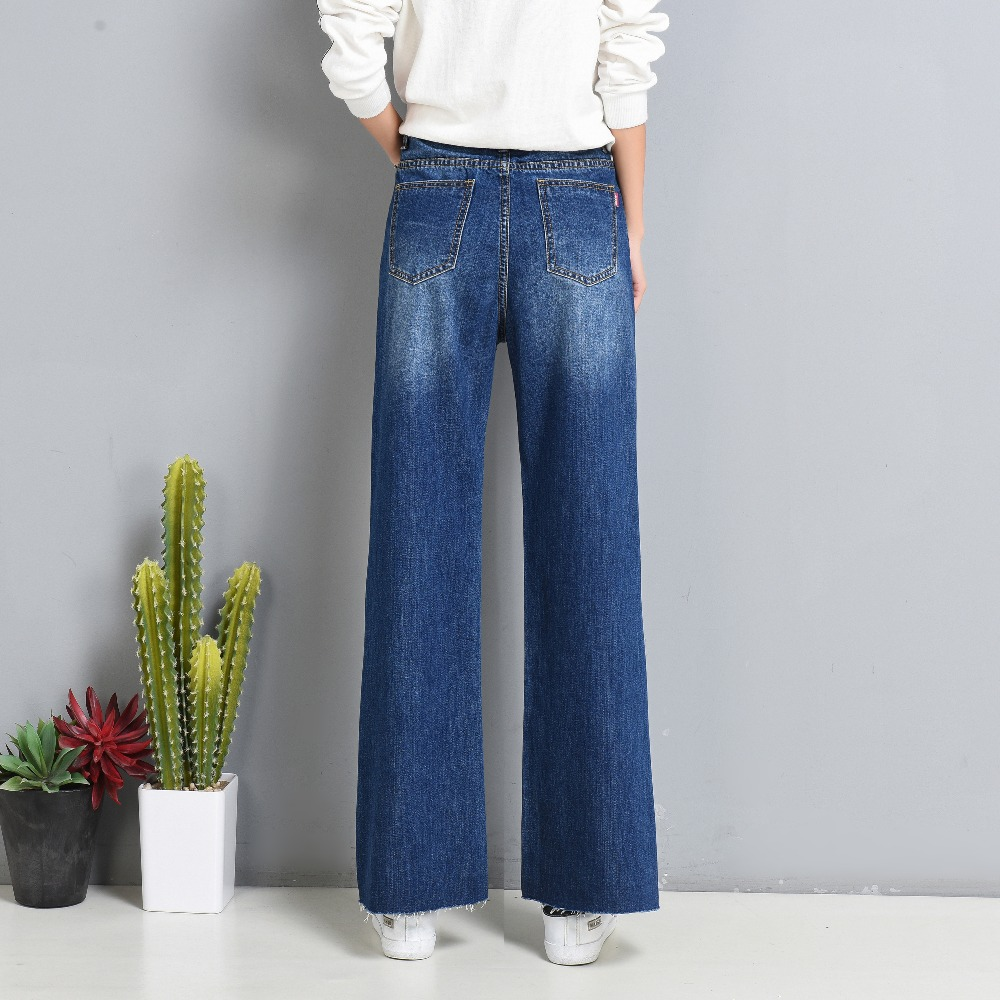 ba022fd64e2 Free Shipping 2017 Autumn Women Wide Leg Plus Size Jeans High Waist Big  Straight trousers Boot Cut Flares Pants Large Size 26 40-in Jeans from  Women s ...