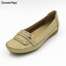 2017 Summer New Women Fashion Leather Nurse Teacher Flats Moccasins Comfortable Woman Shoes Cut-outs Leisure Flat Woman Casual S
