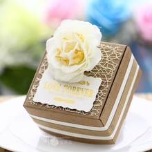 50psc Custom Milk White Beige Kraft Candy Boxes decoration Diy Mariage Wedding gifts for guests Party Wedding favors and gifts