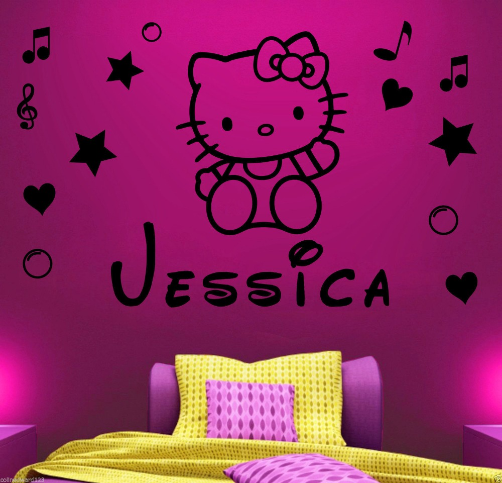 Hello kitty bedroom wall stickers - Hot Sell Wholesale Personalised Hello Kitty Name Decal Wall Sticker Wall Art Girl Bedroom Decor Free Shipping In Wall Stickers From Home Garden On