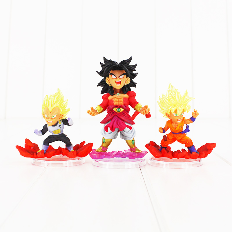 3pcs/set Anime Dragon Ball Z Figure Super Legend of Saiyan Gokou Vegeta Broly PVC Action Figures Collectible Model Toys anime dragon ball super saiyan 3 son gokou pvc action figure collectible model toy 18cm kt2841