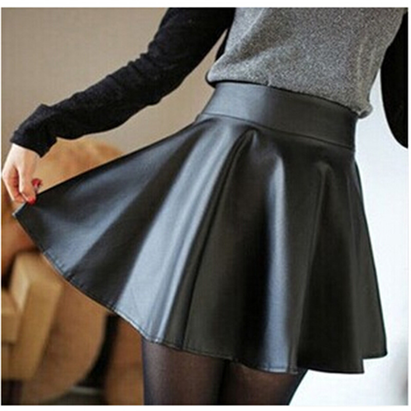 Autumn New Fashion Ladies Girl Slim Thin High Waist Pu Pleated Skirts Mini Short Skirt Solid Clothes Wear Clubwear 4Color