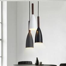 Современный минималистичный подвесной светильник E27, лампа из дерева и алюминия для бара, кафе, ресторана, освещение