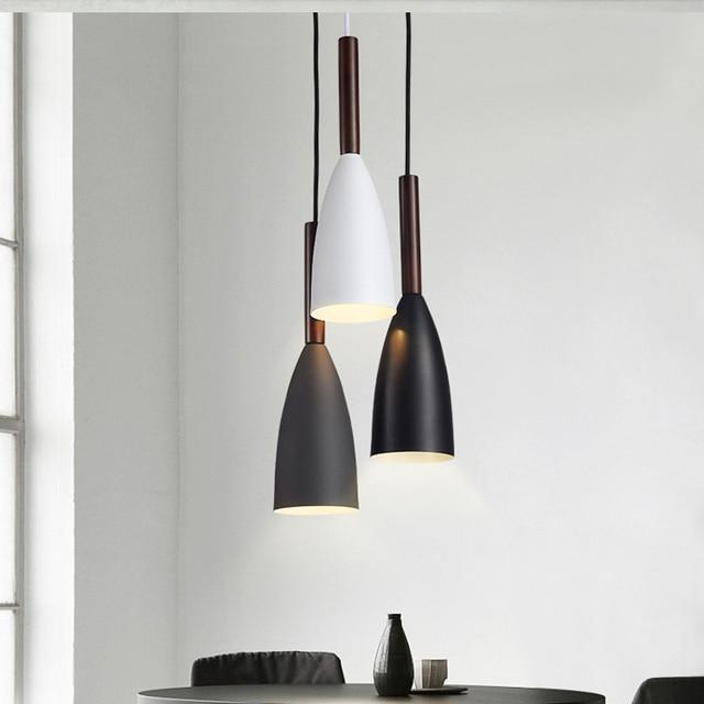 Minimalis Modern E27 Liontin Lampu Bar Kafe Restoran Dekorasi Kayu Aluminium Lampu Gantung Lampu Lampu