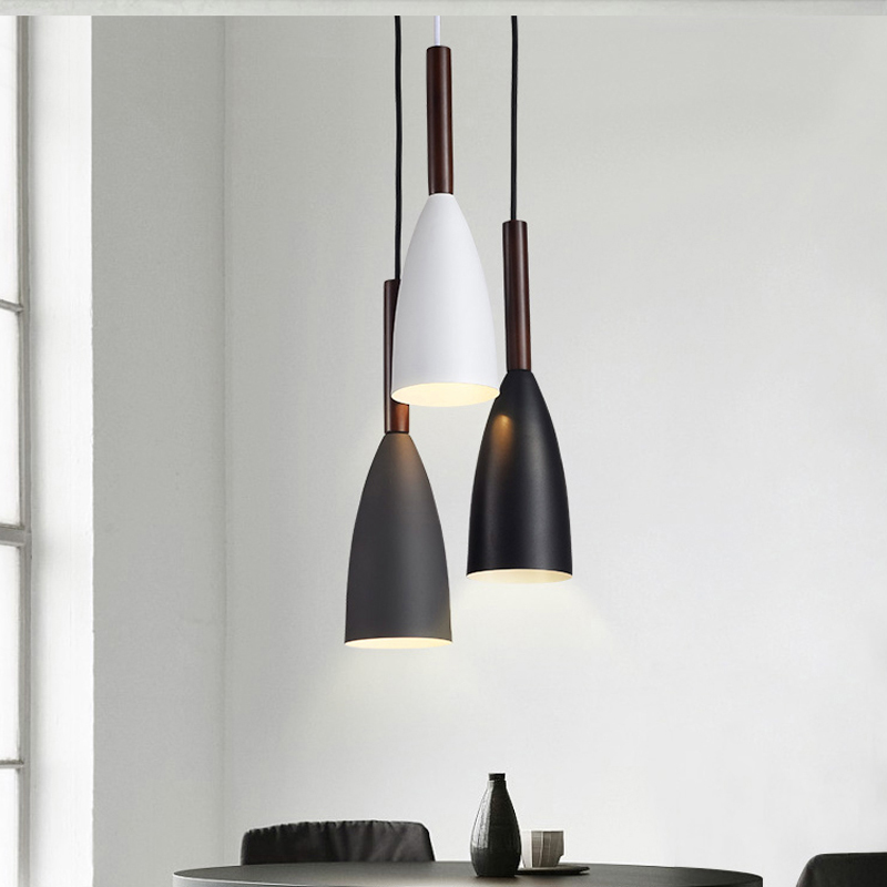 Modern Minimalist E27 Pendant Lights Bar Cafe Restaurant Decor Wood Aluminum Hanging Lamp Lighting Luminaire