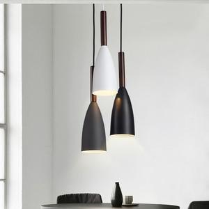 Modern Minimalist E27 Pendant Lights Bar Cafe Restaurant Decor Wood Aluminum Hanging Lamp Lighting Luminaire(China)