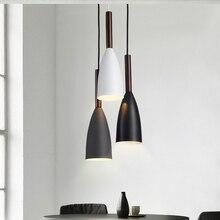 Modern Minimalist E27 kolye ışıkları Bar Cafe restoran dekor ahşap alüminyum asılı lamba aydınlatma armatürü