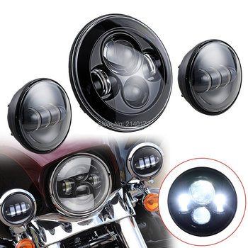 Motorcycle led Headlight 7'' 40W High/Low Beam and Black 4.5INCH 4-1/2'' 30W LED Fog Passing Auxiliary Spot Light For Harley