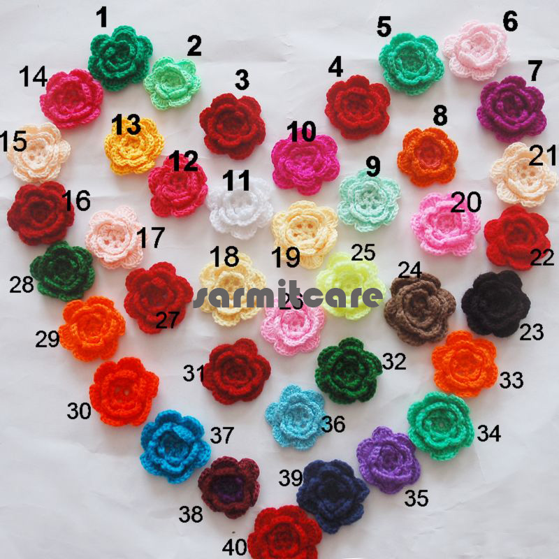100pcs/lot Exquisite Handmade Flowers For Wedding Dress Clothing Baby Hearwear DIY Crochet Flowers 2 - 2.5 Inches Mixed Colors