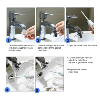 6 Pièces Buse Robinet Eau Dentaire Flosser Portable Oral Irrigateur Commutateur Jet Soie Brosse à Dents Irrigation SPA Dents Nettoyage Des Dents