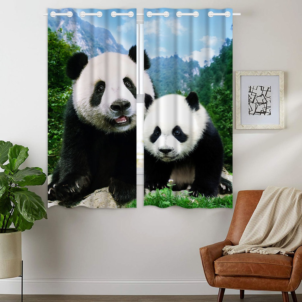 HommomH Curtains 2 Panel Grommet Top Darkening Blackout Room Cute Panda Mother And Child Mountain Forest