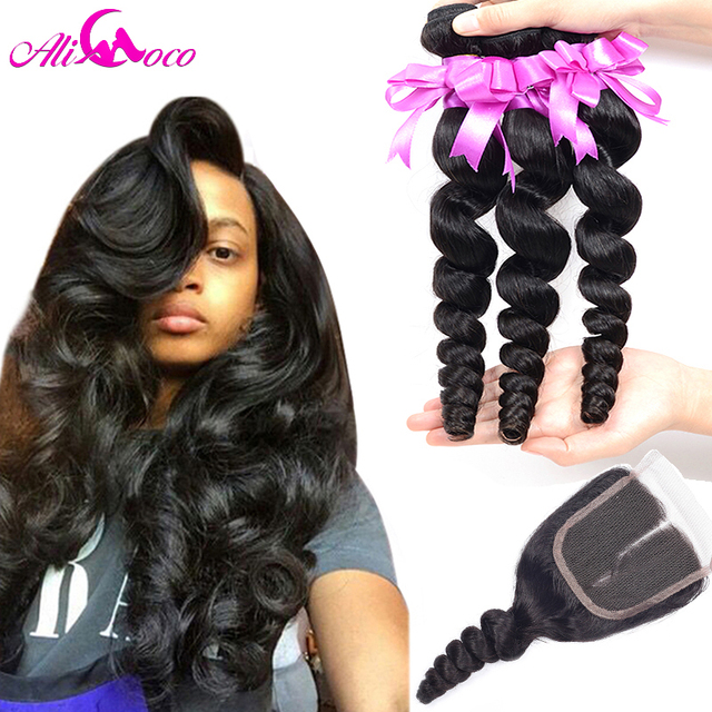 "Peruvian Virgin Hair With Closure 3pcs Virgin Peruvian Loose Wave With Closure 8""-20"" 4x4 Loose Wave Lace Closure With Bundles"
