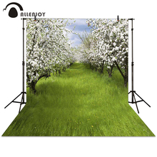 Allenjoy background photography spring forest grass flower tree white backdrops photocall photographic photo studio children