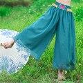2016 Mujeres Casual Pantalones y Capris Moda Azul Bordado de Gasa Pantalones de Cintura Alta de Verano y Primavera Solid de Señora
