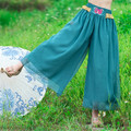 2016 Women Casual Pants & Capris Fashion Blue Embroidery High Waist Summer & Spring Solid Lady's Chiffon Trousers