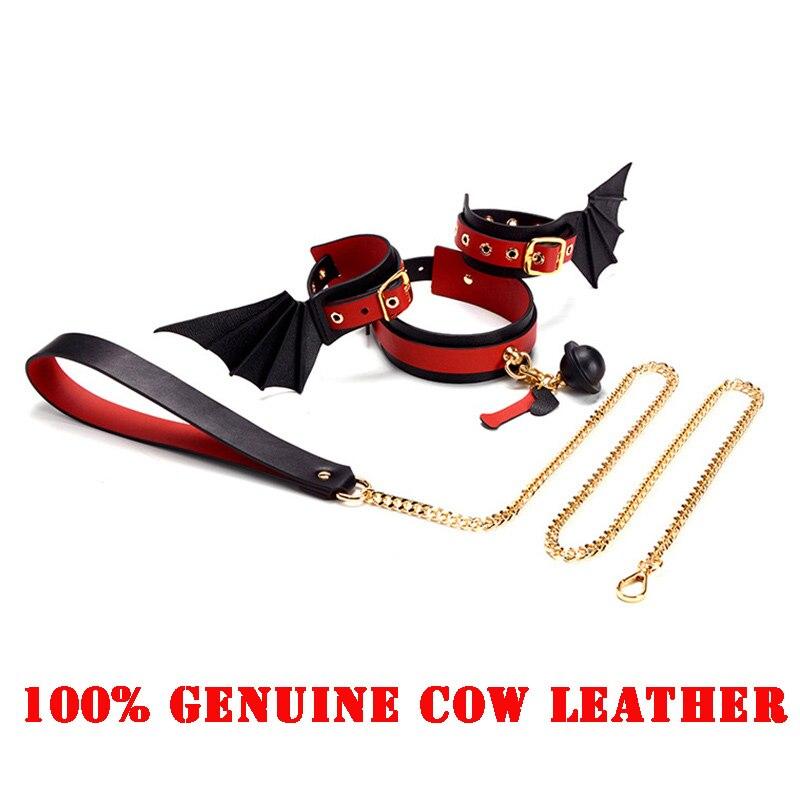 Collier première couche en cuir de vache BDSM Bondage véritable en cuir de vache menottes tour de cou fouets jeux pour adultes accessoire exotique de haute qualité