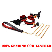 First Layer Cow Leather Necklace BDSM Bondage Real Handcuffs Choker Whips Adult Games High Quality Exotic Accessory