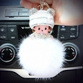 Hat Monchichi Key Chain Sleutelhanger Strass Keyring Fluffy Ribbit Fur Ball Pom Pom Women Bag Charm Porte Clef Fo-K002-white