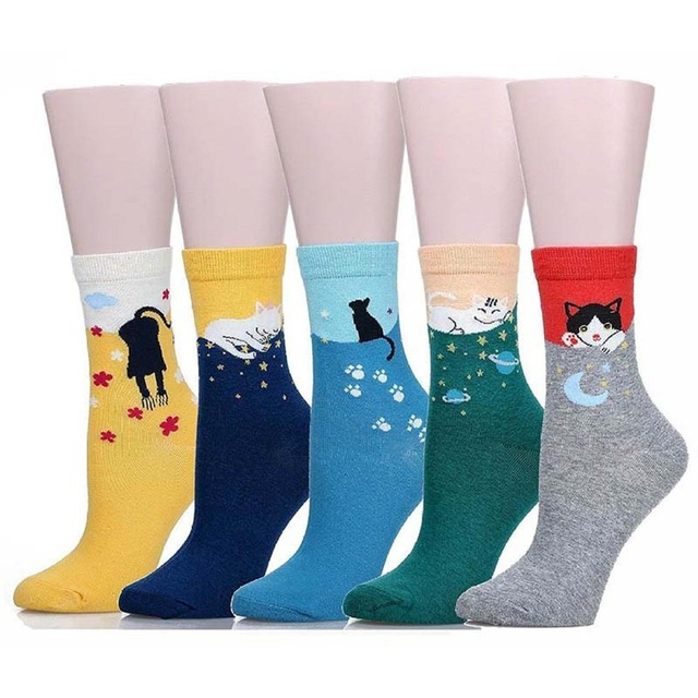Fashion Lovely Cute Female Comfortable Casual Cotton Animal Crew Cat   Socks   Fall Winter For Woman Girl