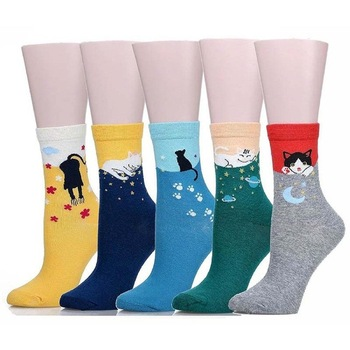 Fashion Lovely Cute Female Comfortable Casual Cotton Animal Crew Cat Socks Fall Winter For Woman Gir