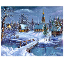 5D diy diamond painting cross stitch landscape  embroidery snow house picture round mosaic forest home decor