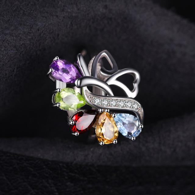 JewelryPalac Natural Amethyst Citrine Garnet Peridot Topaz Ring 925