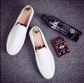 Nuevo 2016 la caída de los zapatos de los hombres de cabeza redonda zapatos de doug marea blanca masculina recreacional perezoso cuero marea juventud zapatos