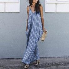 Women Dress Vestidos Vintage Sexy v-Neck Casual Loose Striped Plus-Size Summer Long Maxi