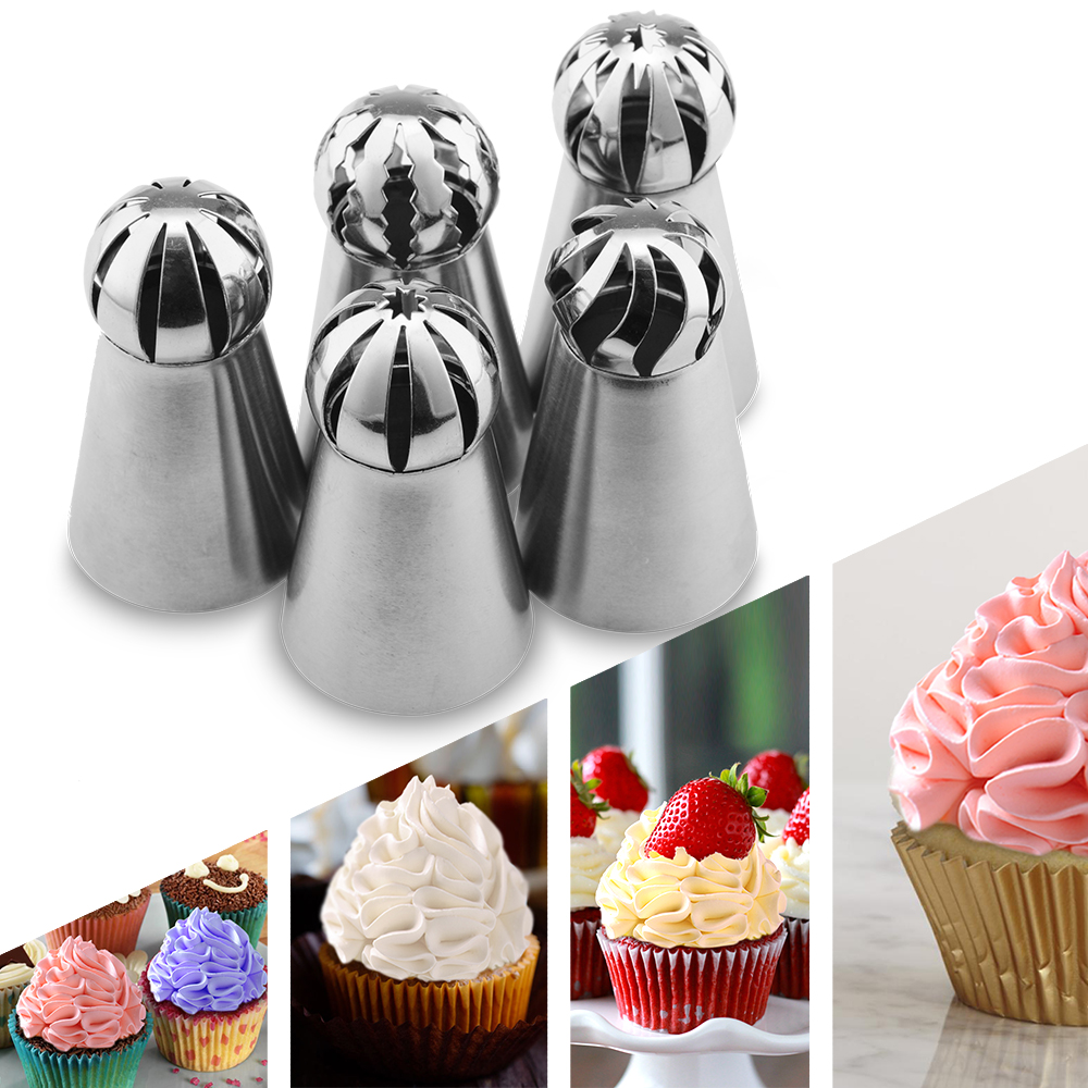 5PCS Russian Spherical Ball Stainless Steel Icing Piping Nozzle Pastry Tips Fondant Cupcake Baking Tip Tool Sphere Shape Cream