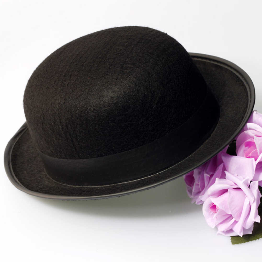 ae11d4a517ddd ... Black Bowler Hat Magicians Hat Dress Up Costume Accessory for Men Adult  Fancy Dress Party ...