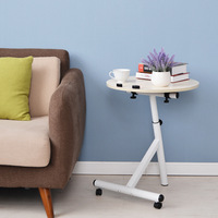 Rolling Round Side Table Height Adjustable Coffee Table Home Office Laptop Best For Christmas Gift