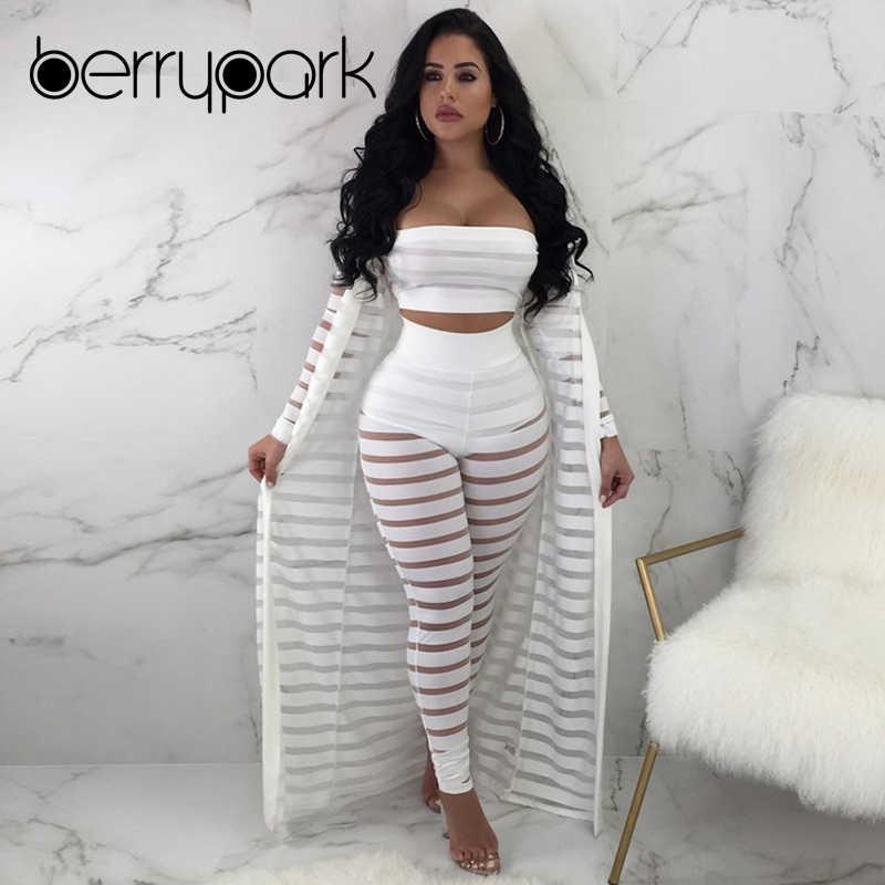 0ad55e8db1 BerryPark Mesh Stripe Patchwork Bra+Pant+Cover Up 3PCS Set Swimwear 2019  Summer Women