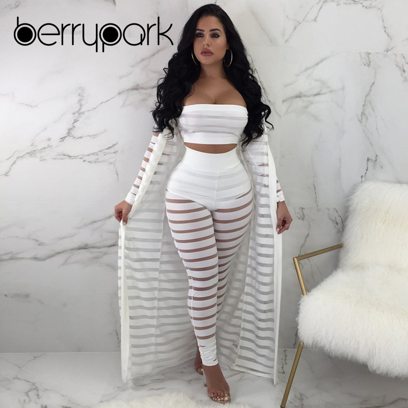 BerryPark Mesh Stripe Patchwork Bra+Pant+Cover Up 3PCS Set Swimwear 2019 Summer Women Sunscreen See Through Swim Suit Beach Wear