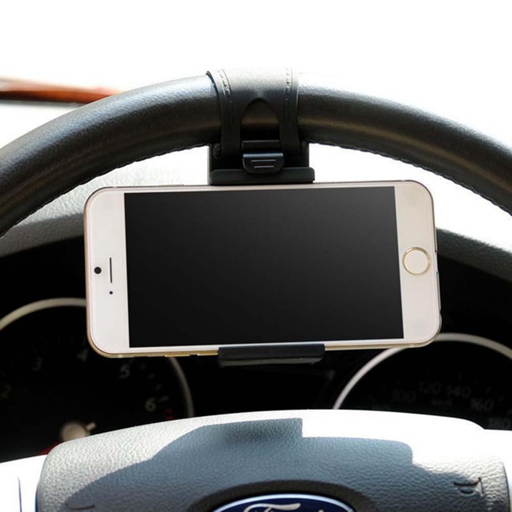 Car Phone Holder Mounted On Steering Wheel Cradle Smart Mobile Phone Clip Mount Holder Rubber Band For Samsung IPhone Xiaomi