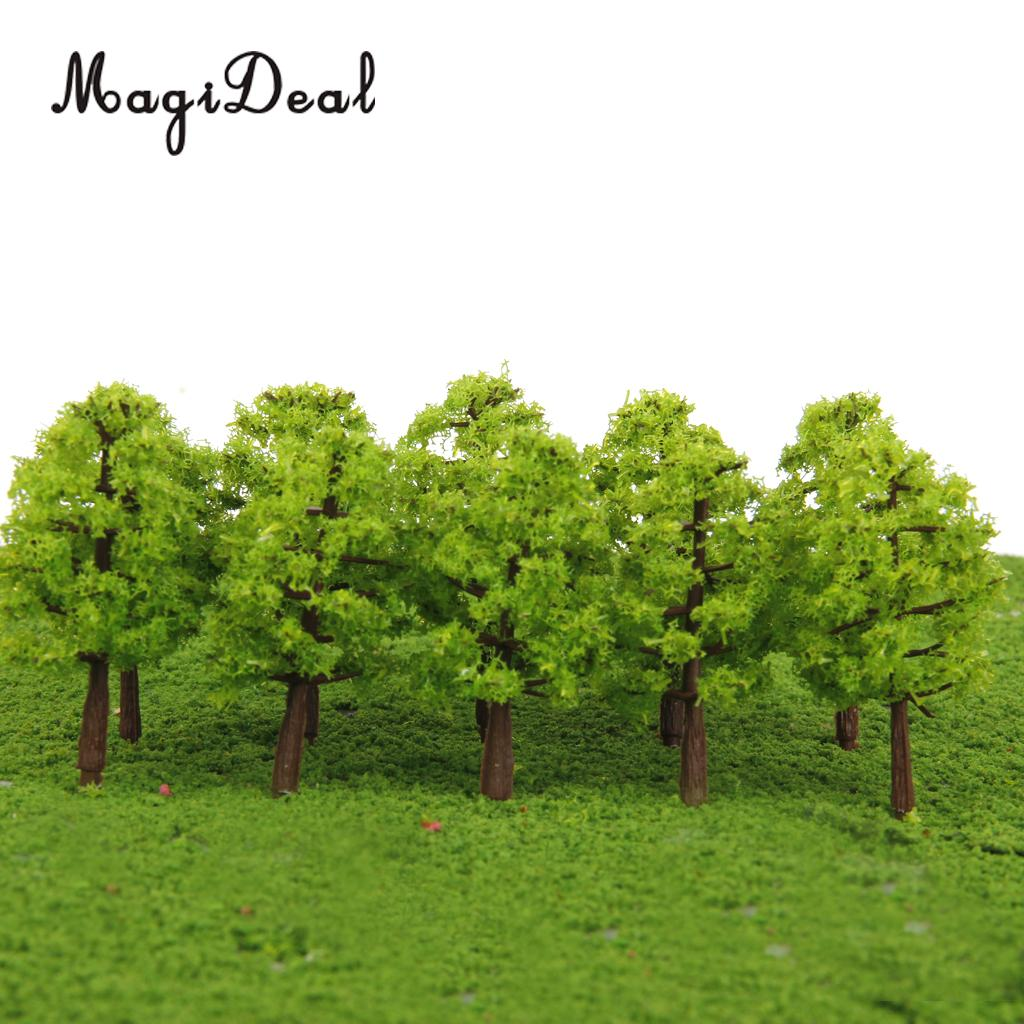 MagiDeal 20Pcs/Lot 1/150 Scale Plastic Model Trees Train Track Railroad Railway Scenery for Building Models Garden Park Layout