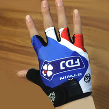 2017 team pro cycling gloves gel pad Blue fdj half finger bicycling gloves sports