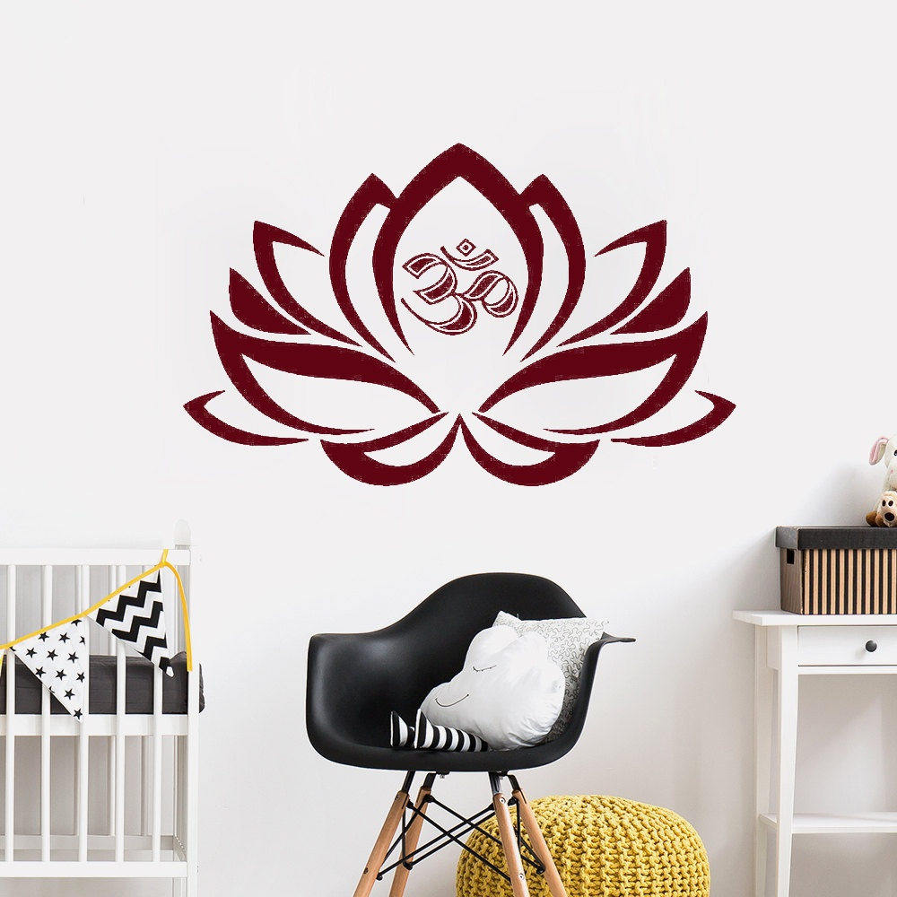 Hot Sale Yoga Lotus Flower Om Decal Vinyl Wall Sticker Mouthfacegbt