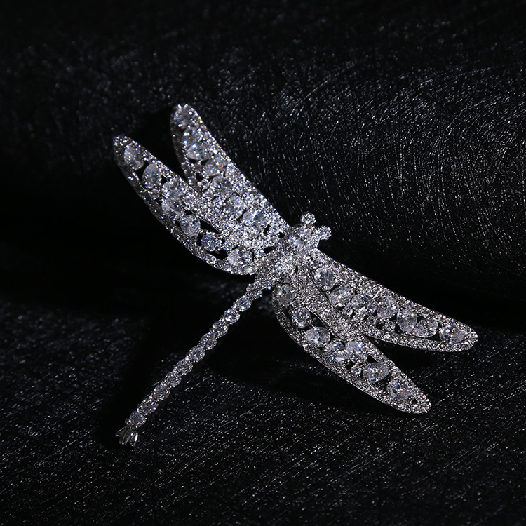 Luxury Cubic Zirconia Dragonfly Women Brooches Fashion Jewelry White Gold Plated Wedding Prom Accessories Brooch Pin