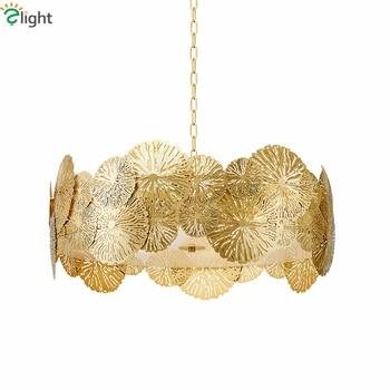 Colgante de Metal dorado de lujo chino luz tallada hueco Led colgante Lustre iluminación interior luminaria Lamparas